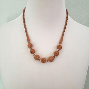 Vintage Boho Carved Bead Necklace